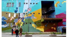 Terminato il nuovo murales della EDF crew a Pontedera. 1100 mq di colore sull'ex IPSIA