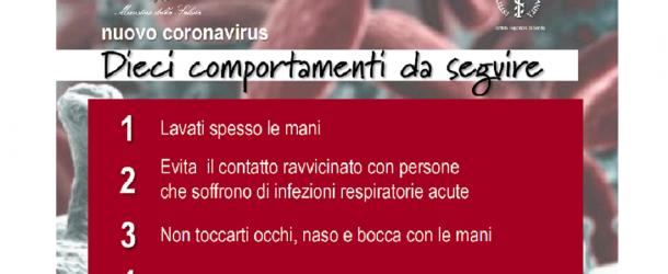 Coronavirus: come comportarsi e cosa fare in caso di sintomi