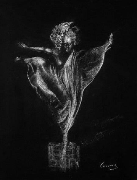 Anna Chromy, Madame Butterfly XV, chalk on black paper cm 70x50, 2006