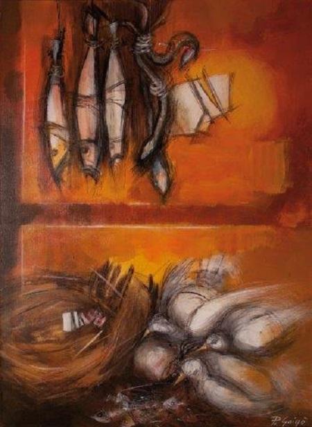 Paolo Grigò, Armonie Lacusti, acrilico su tela cm 70x50, 2010