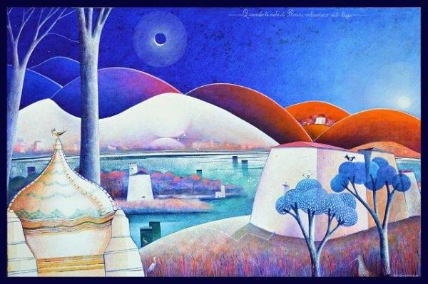 Paolo Lazzerini, Quando le note di Puccini volavano sul lago, t. m. su tela cm 100x150, 2016