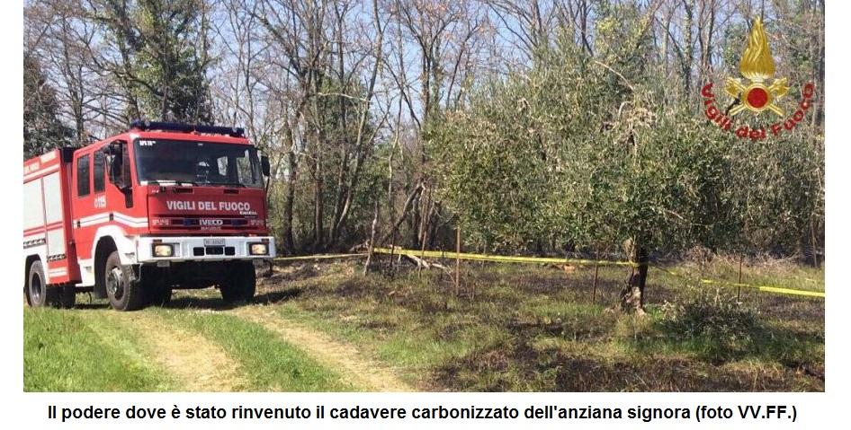 Donna brucia viva in un oliveto, trovato il corpo carbonizzato